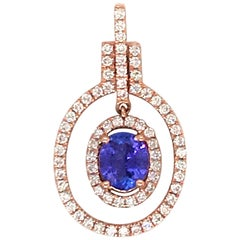 Oval Tanzanite Diamond Drop Pendant 0.97 Carat 14 Karat Rose Gold