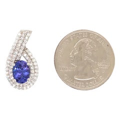 Oval Tanzanite Diamond Halo Pendant 2.32 Carat 14 Karat White Gold