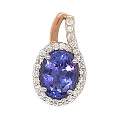 Oval Tanzanite Diamond Pendant 1.49 Carat 14 Karat White Gold