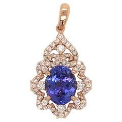 Oval Tanzanite Diamond Pendant 3.49 Carat 18 Karat Rose Gold