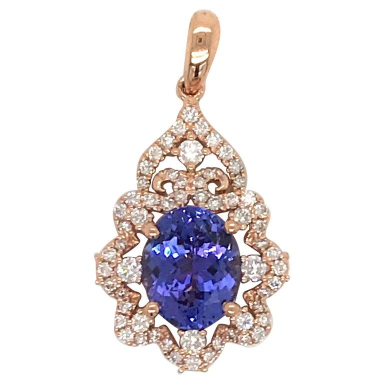 Oval Tanzanite Diamond Pendant 3.49 Carat 18 Karat Rose Gold For Sale