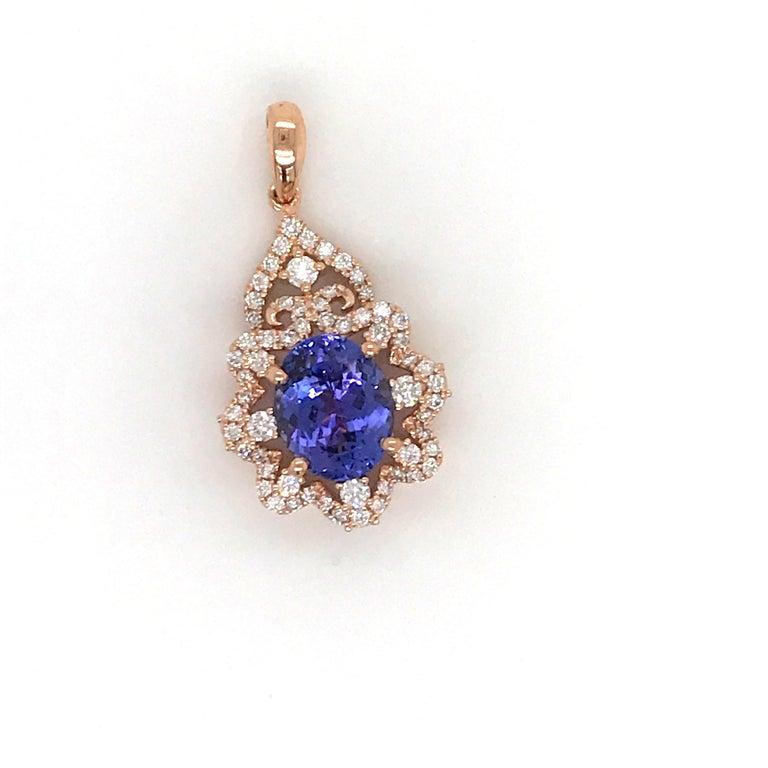 Contemporary Oval Tanzanite Diamond Pendant 3.49 Carat 18 Karat Rose Gold For Sale