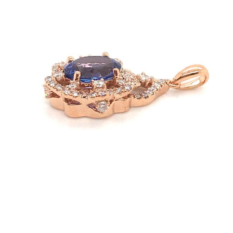 Oval Cut Oval Tanzanite Diamond Pendant 3.49 Carat 18 Karat Rose Gold For Sale