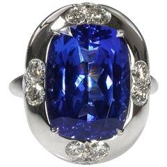 Oval Tanzanite Diamond Platinum Ring