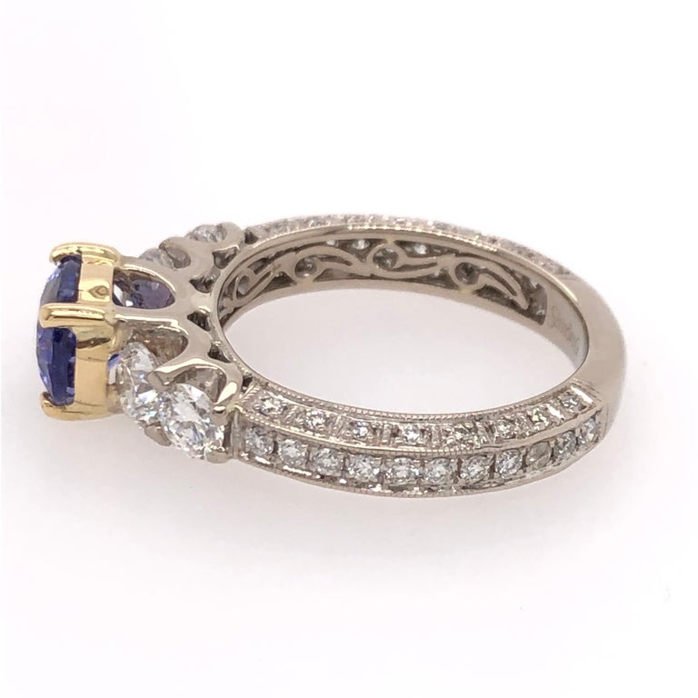 Oval Cut Oval Tanzanite Diamond White Gold with Yellow Gold Basket Ring For Sale