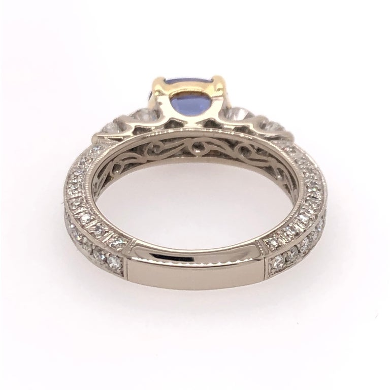Oval Tanzanite Diamond White Gold with Yellow Gold Basket Ring In New Condition For Sale In Dallas, TX