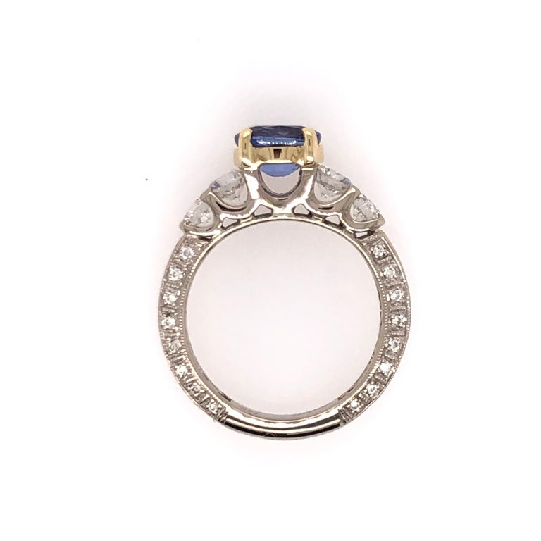 Oval Tanzanite Diamond White Gold with Yellow Gold Basket Ring For Sale 2