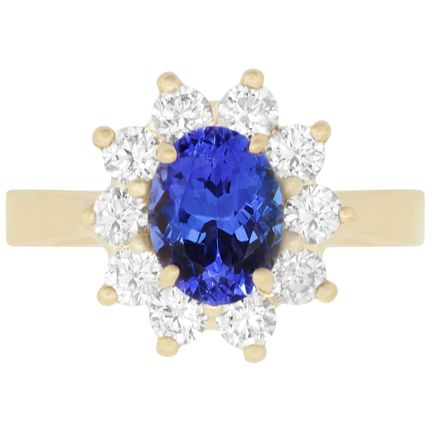 Oval Natural Tanzanite White Diamond Halo Engagement Ring 14K Yellow Gold