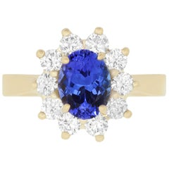 Oval Natural Tanzanite White Diamond Halo Engagement Ring 14K Yellow Gold