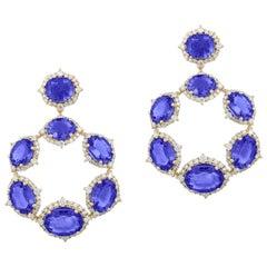 Goshwara Oval Tanzanite Hoop Earrings