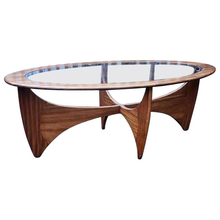 Oval Coffee Table Plans: Oval Teak Coffee Table With Glass Top By G Plan For Sale