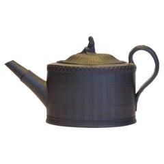 Oval Teapot in Black Basalt, Turner, circa 1790