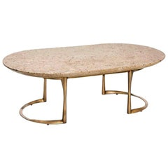Oval Terrazzo Coffee Table, Rose Beige