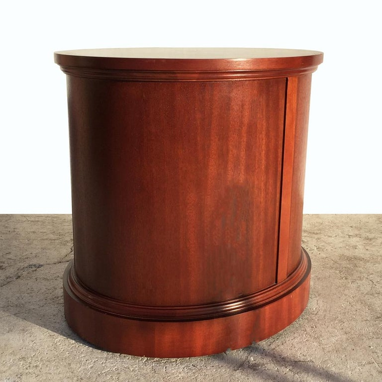 19th Century Oval Three-Drawer Nightstand Side Table by Berhardt For Sale