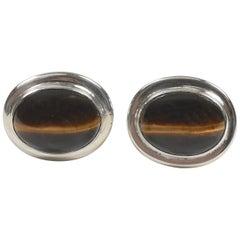 Oval Tiger-Eye Sterling Silver Cabochon Cufflinks