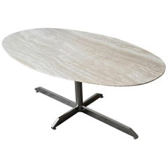 Oval Travertine and Chrome Dining Table by Florence Knoll for Roche Bobois