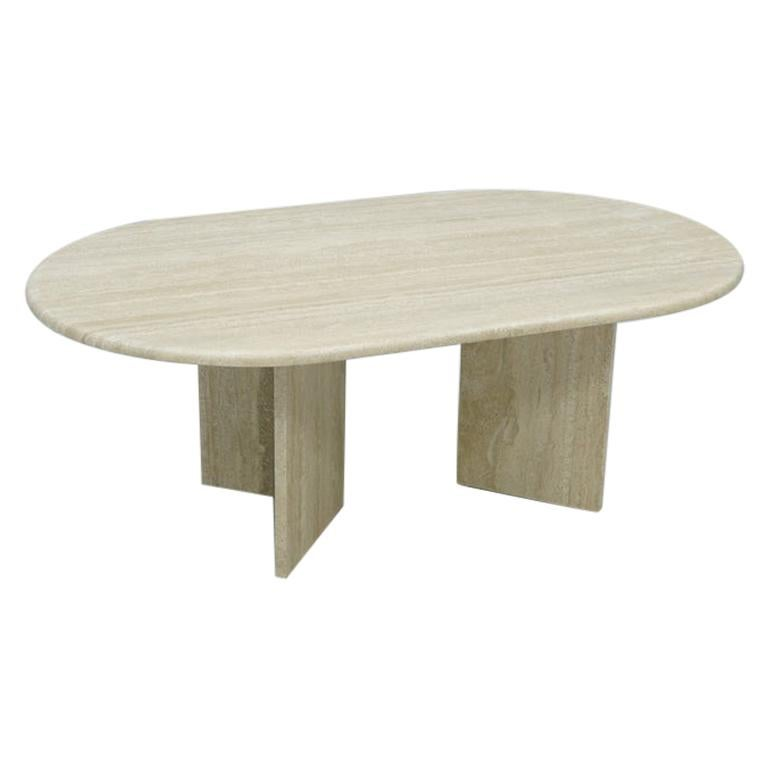 Oval Travertine Coffee Table, Italy, 1970s