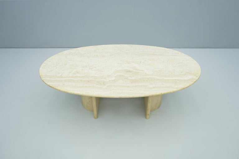 Oval travertine coffee table, Italy, 1970s. For indoor and outdoor to use.