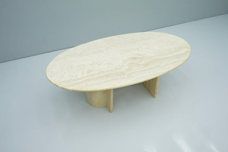 Mid-Century Modern Oval Travertine Coffee Table, Italy, 1970s For Sale