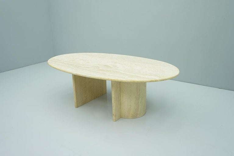 Italian Oval Travertine Coffee Table, Italy, 1970s For Sale