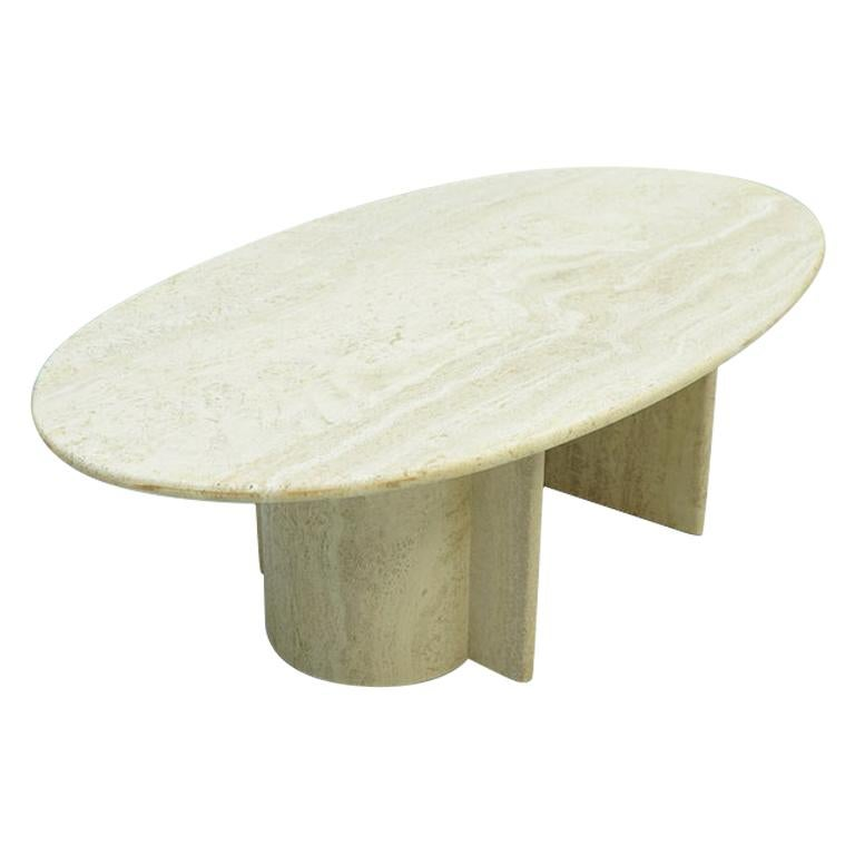 Oval Travertine Coffee Table, Italy, 1970s For Sale