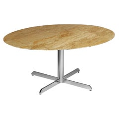 Oval Travertine Marble Dining Table with Chrome Four Star-Feet from the 70's