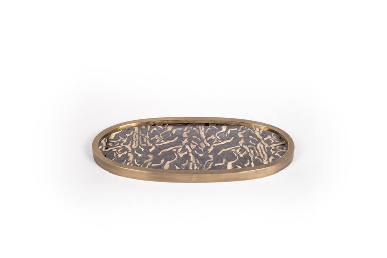 Oval Tray in Cream Shagreen and Brass by Kifu, Paris For Sale 3