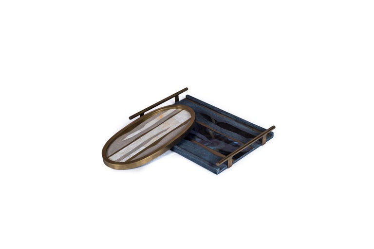 Contemporary Oval Tray inlaid in Blue Shell and Brass by Kifu, Paris For Sale