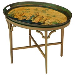 Oval Tray Table Decorated with European Pastoral Scene
