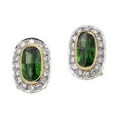 Oval Tsavorite and Diamond Stud Earrings, Gold, Ben Dannie