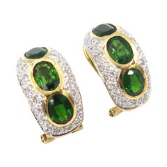 Oval Tsavorite Diamond Pavé 18 Karat Yellow Gold Huggies Earrings