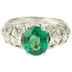 Oval Tsavorite Garnet Diamonds 18 Karat White Gold Ring