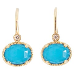 Oval Turquoise Rock Crystal & Diamond Earring Dangles in 14 Karat Gold Turquoise