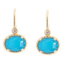 Oval Turquoise Rock Crystal & Diamond Earring Dangles in 14K Gold, Turquoise
