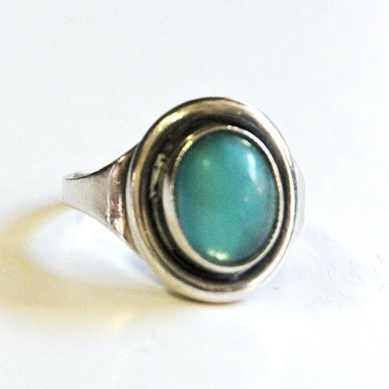Mid-Century Modern Oval Turquoise Stone Silvering by Sven Holmström, 1950s, Sweden For Sale