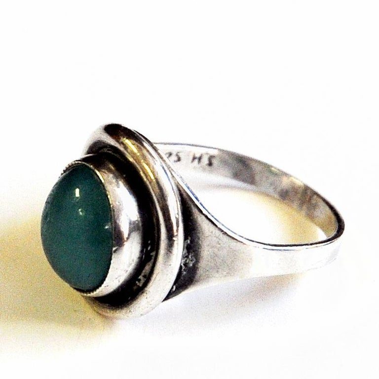 Mid-20th Century Oval Turquoise Stone Silvering by Sven Holmström, 1950s, Sweden For Sale