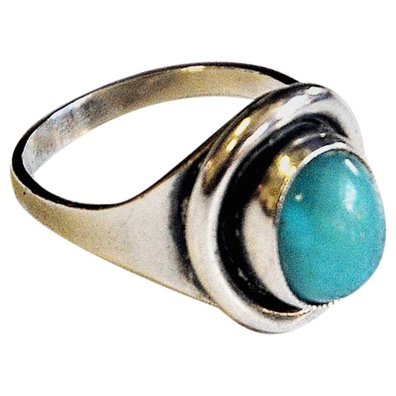 Oval Turquoise Stone Silvering by Sven Holmström, 1950s, Sweden