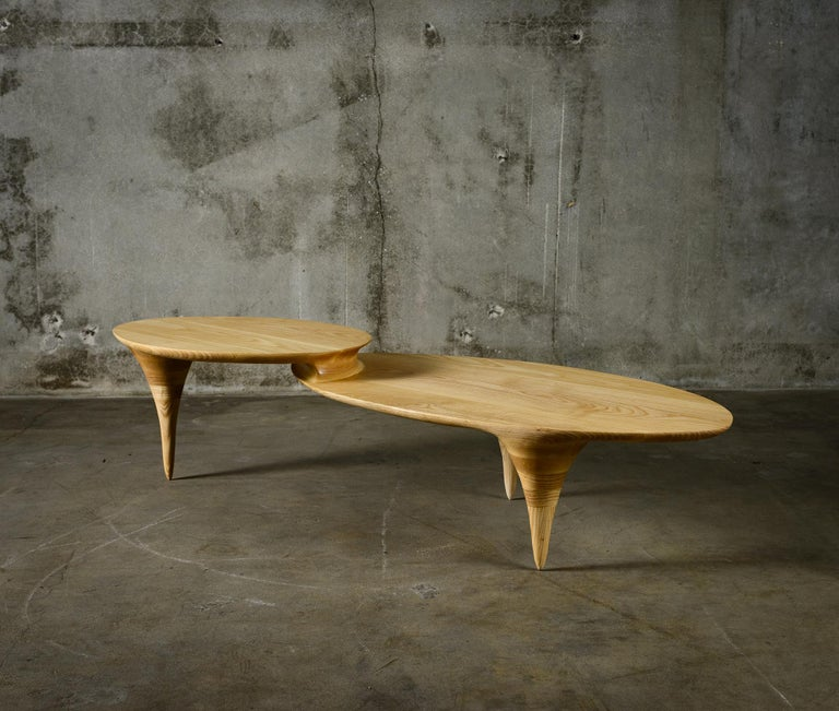 Oval Two-Tiered Coffee Table by Michael Wilson In Excellent Condition For Sale In Los Angeles, CA