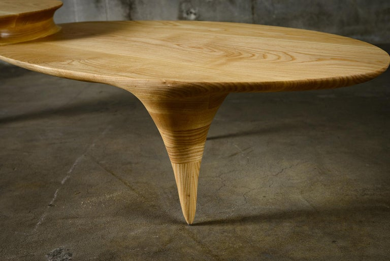 Wood Oval Two-Tiered Coffee Table by Michael Wilson For Sale