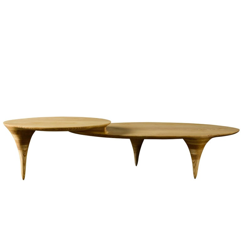 Oval Two-Tiered Coffee Table by Michael Wilson For Sale