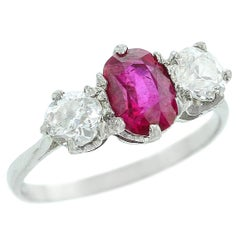 Oval Unheated Burma Ruby and Diamond Ring