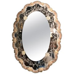 Oval Venetian Glass Framed Etched Mirror