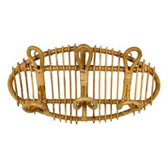Oval Vintage Rattan & Bamboo Coat Rack Stand, Italy, 1960s