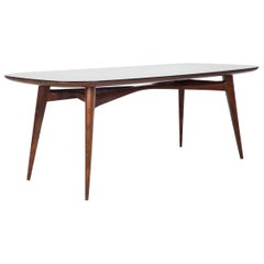 Oval Vittorio Dassi Dining Room Table with Black Glass Top, Italy, 1950s