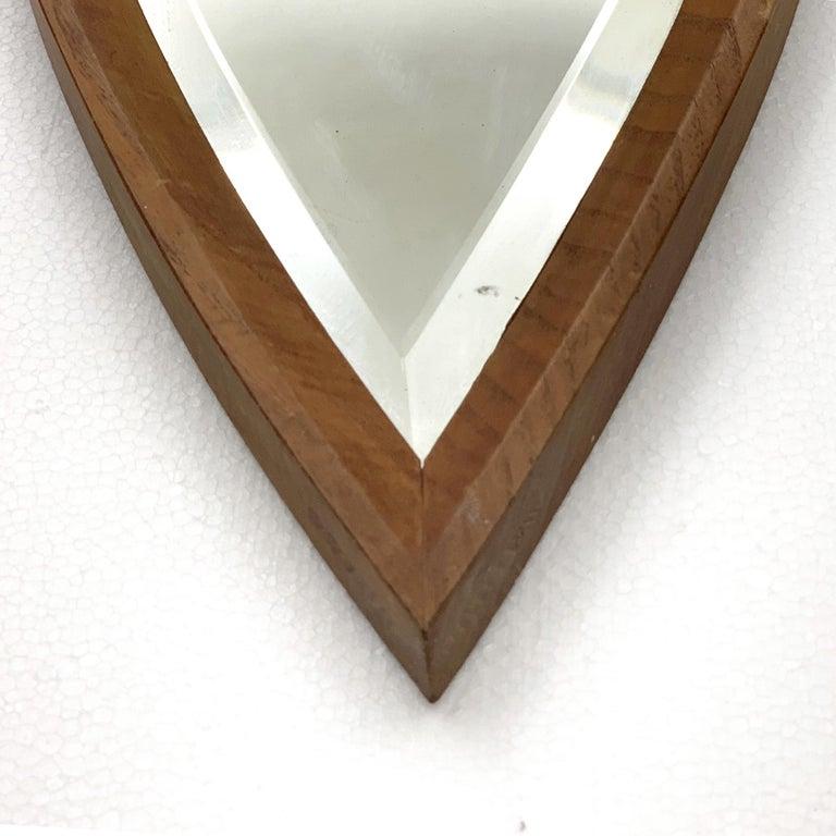 Italian Oval Wall Mirror, Eye-Shaped, Wood Frame, 1950s Italy Mid-Century Modern For Sale