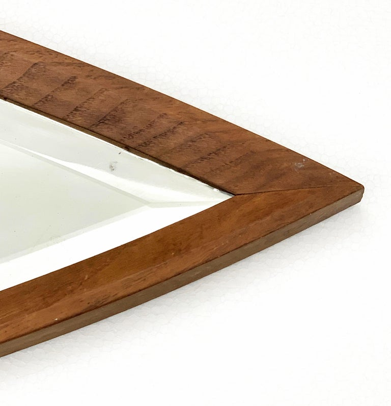 20th Century Oval Wall Mirror, Eye-Shaped, Wood Frame, 1950s Italy Mid-Century Modern For Sale