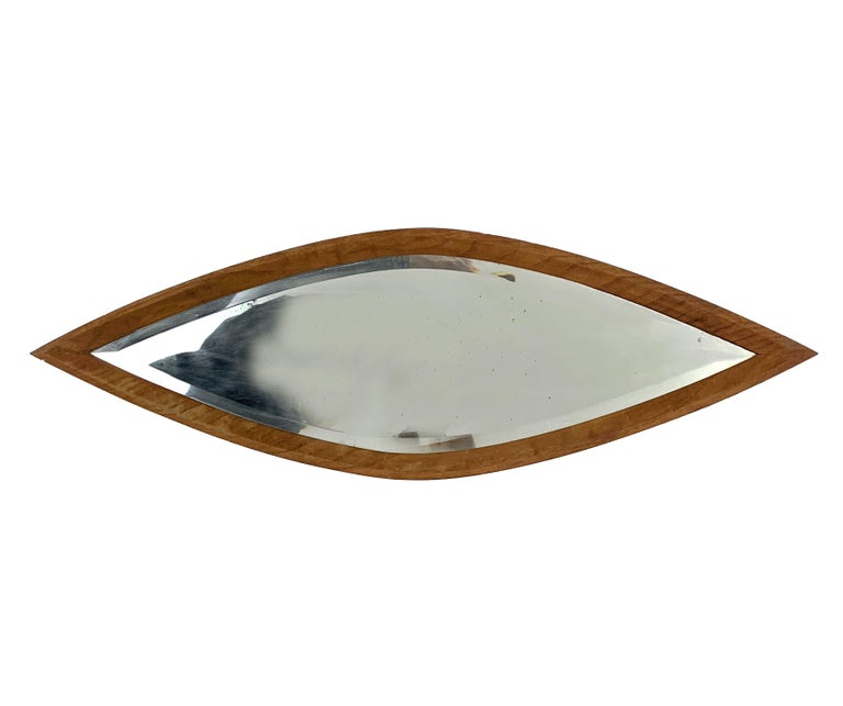 Oval Wall Mirror, Eye-Shaped, Wood Frame, 1950s Italy Mid-Century Modern For Sale 2