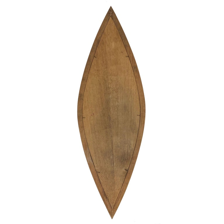 Oval Wall Mirror, Eye-Shaped, Wood Frame, 1950s Italy Mid-Century Modern For Sale 3