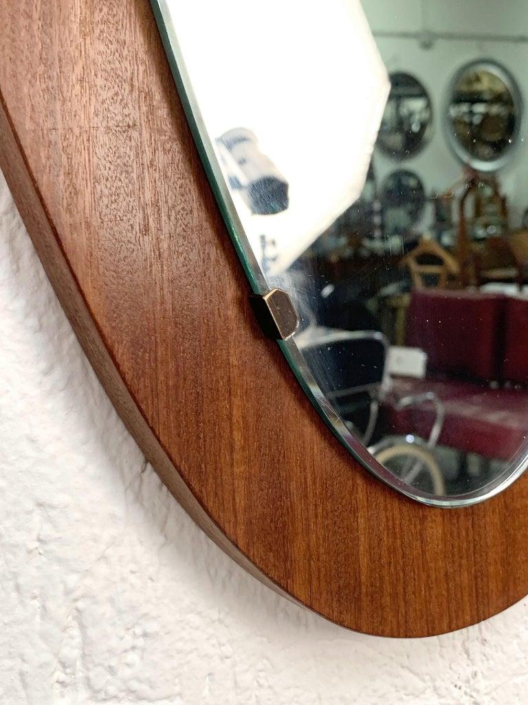 Italian Oval Wall Mirror Frame with Mahogany, 1960s, Italy, Mid-Century Modern For Sale