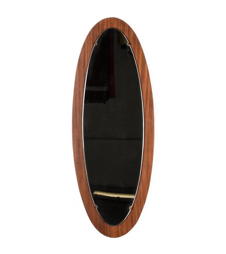 Oval Wall Mirror Frame with Mahogany, 1960s, Italy, Mid-Century Modern In Good Condition For Sale In Roma, IT